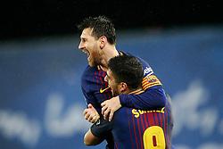 FC Barcelona's Leo Messi (l) and Luis Suarez celebrate goal during La Liga Real Sociedad v FC Barcelona match in San Sebastian-Donostia, Spain, January 14, 2018. Photo by Acero/AlterPhotos/ABACAPRESS.COM