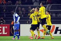 Fotball<br /> Tyskland<br /> 18.02.2016<br /> Foto: Witters/Digitalsport<br /> NORWAY ONLY<br /> <br /> 1:0 Jubel v.l. Marcel Schmelzer, Torschuetze Lukasz Piszczek, Pierre-Emerick Aubameyang, Shinji Kagawa (Dortmund), Silvestre Varela (Porto, l.)<br /> Dortmund, 18.02.2016, Fussball, Europa League, Zwischenrunde Hinspiel, Borussia Dortmund - FC Porto