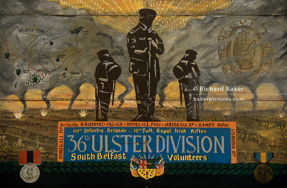 A loyalist wall mural in a protestant area of Belfast showing a memorial to the 36th Ulster Division of south Belfast during their service in the trenches during the 1914-18 WW1.