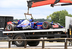 Toro Rosso's Carlos Sainz Jr. retires with a puncture during the 2017 British Grand Prix at Silverstone Circuit, Towcester. PRESS ASSOCIATION Photo. Picture date: Sunday July 16, 2017. See PA story AUTO British. Photo credit should read: Tim Goode/PA Wire. RESTRICTIONS: Editorial use only. Commercial use with prior consent from teams.