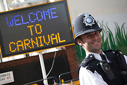 © Licensed to London News Pictures. 28/08/2011. London, UK. Notting Hill Carnival 2011 on Children's Day. Metropolitan Police at the carnival. Photo credit: Bettina Strenske/LNP