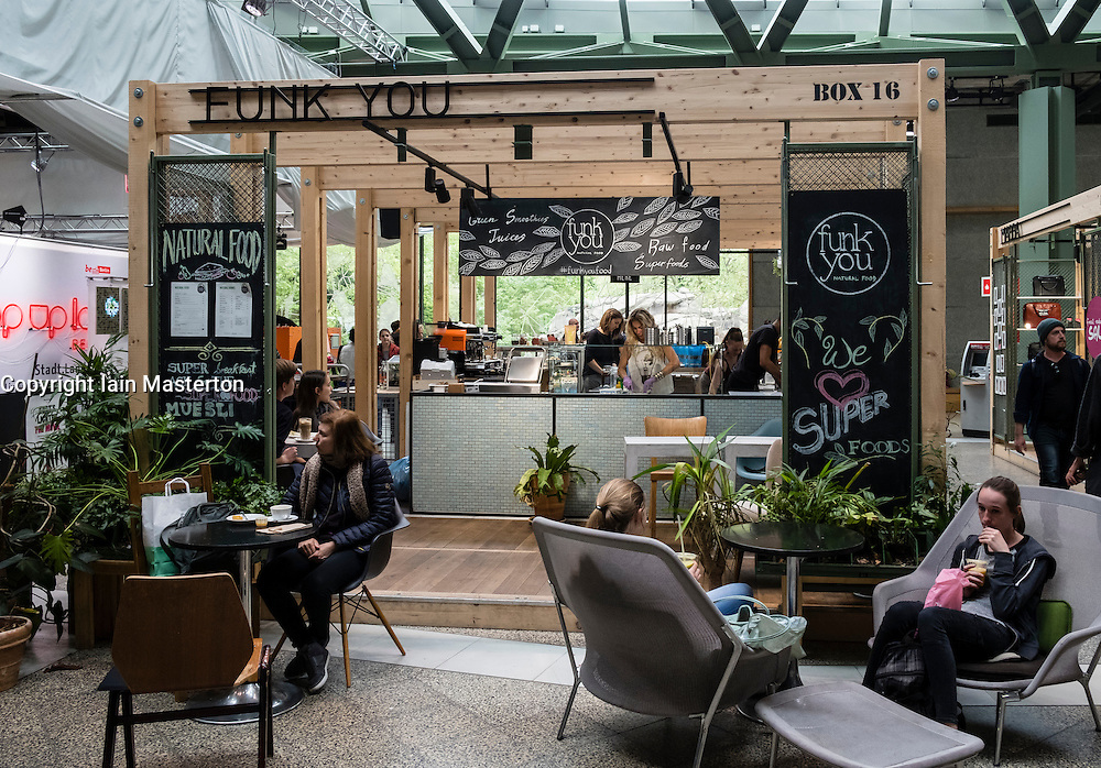 Pop up cafe inside new Bikini Berlin shopping Mall in Charlottenburg, Berlin, Germany