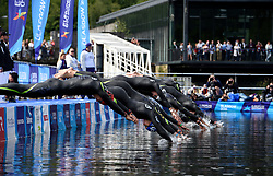 Swimmers dive in at the start of the Mixed Relay during day ten of the 2018 European Championships at Loch Lomond, Stirling.