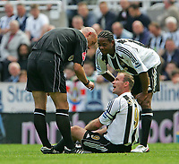 Photo. Andrew Unwin.<br /> Newcastle United v Chelsea, Barclays Premiership, St James' Park, Newcastle upon Tyne 15/05/2005.<br /> Newcastle's Alan Sheaerer (C) appeals to the referee, Howard Webb (L).