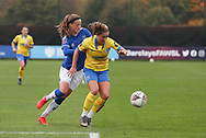 Brighton & Hove Albion defender Maya Le Tissier (6) shields the ball from Everton forward Nicoline Sorensen (14) during the FA Women's Super League match between Everton Women and Brighton and Hove Albion Women at the Select Security Stadium, Halton, United Kingdom on 18 October 2020.