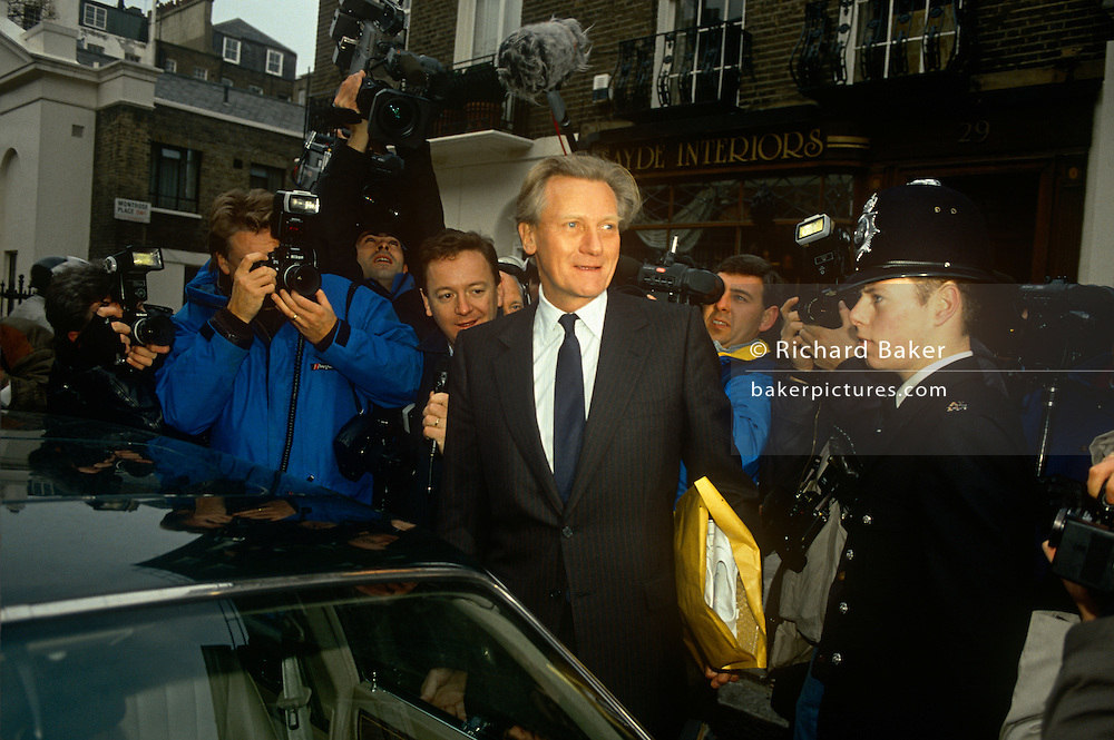 Charismatic Conservative MP, Michael Heseltine out campaigning during the 1990 election in the summer of 1990 in south London, England.