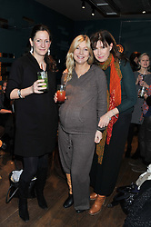 Left to right, JO HIGGS, SIGRID KIRK and RONNI ANCONA at a ladies lunch hosted by Thomasina Miers at her restaurant Wahaca, 19-23 Charlotte Street, London W1 on 17th January 2013.