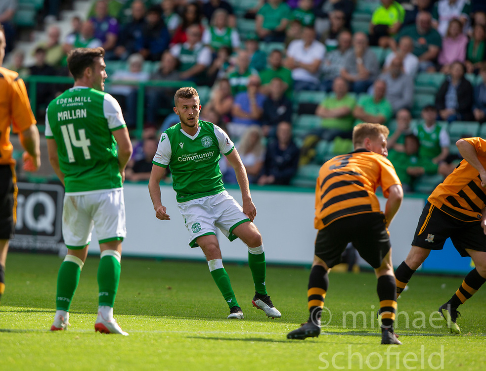 Hibernian's Tom James scoring their second goal. Hibernian 2 v 0 Alloa Athletic, Betfred Cup game played Saturday 20th July at Easter Road, Edinburgh.