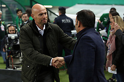 February 14, 2019 - Lisbon, Portugal - Sporting's head coach Marcel Keizer from Netherlands  (L) shakes hands with Villarreal's head coach Javier Calleja  during the UEFA Europa League Round of 32 First Leg football match Sporting CP vs Villarreal CF at Alvalade stadium in Lisbon, Portugal on February 14, 2019. (Credit Image: © Pedro Fiuza/NurPhoto via ZUMA Press)