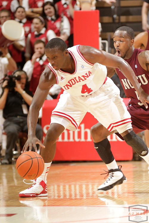22 February 2012: Indiana Guard Victor Oladipo (4)  as the Indiana Hoosiers played the North Carolina Central Eagles in a college basketball game in Bloomington, Ind.