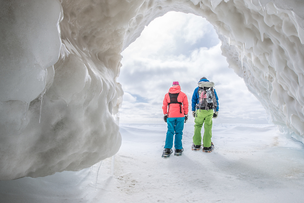 Walking out of an immense ice cave formation on the south shore of Manitoulin Island. This was the farthest formations we explored.