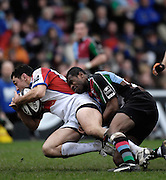 Twickenham, GREAT BRITAIN, Quin's Ugo MONYE catches Bristols,  Neil BREW in possesion, during the Guinness Premieship match, NEC Harlequins vs Bristol Rugby, at the Twickenham Stoop Stadium, England, on Sat 24.02.2007  [Photo, Peter Spurrier/Intersport-images].....