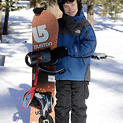 MAMMOTH LAKES, CA, January 20, 2008: Casey Bigelow beforo a class for beginning snowboarders  at Mammoth Mountain ski resort in Mammoth Lakes, California on January 20, 2008.