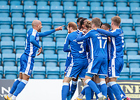 Football - 2020 / 2021 Sky Bet (EFL) League One - Gillingham vs. Oxford United<br /> <br /> Gillingham players congratulate Jacob Mellis (Gillingham FC),  after he scores his teams second goal at Priestfield Stadium.<br /> <br /> COLORSPORT/DANIEL BEARHAM