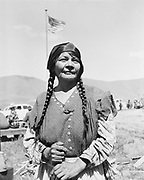 Y-480418-15. Flora Thompson, wife of Chief Tommy Thompson. Celilo Indian village, Feast of the First Salmon. April 18, 1948.