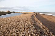 Shingle beach at East Lane, Bawdsey, Suffolk, England, UK