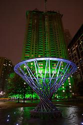 Stock photo of The Mist Tree fountain at night