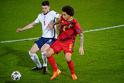 LEUVEN, BELGIUM - Sunday, November 15, 2020: England's Declan Rice (L) and Belgium's Axel Witsel during the UEFA Nations League Group Stage League A Group 2 match between England and Belgium at Den Dreef. Belgium won 2-0. (Pic by Jeroen Meuwsen/Orange Pictures via Propaganda)