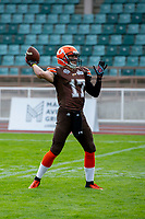KELOWNA, BC - AUGUST 17:   Max Burke #17 of Okanagan Sun throws the ball during warm up against the Westshore Rebels at the Apple Bowl on August 17, 2019 in Kelowna, Canada. (Photo by Marissa Baecker/Shoot the Breeze)