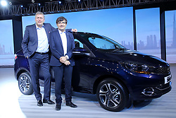 October 10, 2018 - New Delhi, India - (From L-R) Guenter Butschek, CEO and MD, Tata Motors and Mayank Pareek, President – Passengers Vehicle Business Unit, Tata Motors at the launch of the all new Tigor - the next-gen compact sedan from the Company's passenger vehicle stable. (Credit Image: © Jyoti Kapoor/Pacific Press via ZUMA Wire)