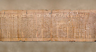 """Anciient Egyptian Book of the Dead papyrus - Spell 30 for stopping the heart betraying the deceased at the tribunal of Osiris, Iufankh's Book of the Dead, Ptolemai period (332-30BC).Turin Egyptian Museum. <br /> <br /> the spell reads ' Stand not against me as a witness, oppose me not in the Council, act not against me before the gods, outweigh me not before the great God, the Lord os the West""""<br /> <br /> The translation of  Iuefankh's Book of the Dead papyrus by Richard Lepsius marked a truning point in the studies of ancient Egyptian funereal studies. .<br /> <br /> If you prefer to buy from our ALAMY PHOTO LIBRARY  Collection visit : https://www.alamy.com/portfolio/paul-williams-funkystock/ancient-egyptian-art-artefacts.html  . Type -   Turin   - into the LOWER SEARCH WITHIN GALLERY box. Refine search by adding background colour, subject etc<br /> <br /> Visit our ANCIENT WORLD PHOTO COLLECTIONS for more photos to download or buy as wall art prints https://funkystock.photoshelter.com/gallery-collection/Ancient-World-Art-Antiquities-Historic-Sites-Pictures-Images-of/C00006u26yqSkDOM"""