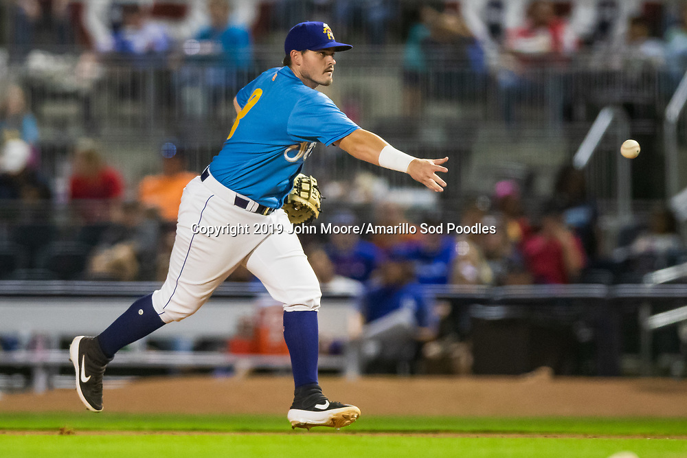 Amarillo Sod Poodles infielder Kyle Overstreet (3) flips the ball against the Tulsa Drillers during the Texas League Championship on Wednesday, Sept. 11, 2019, at HODGETOWN in Amarillo, Texas. [Photo by John Moore/Amarillo Sod Poodles]