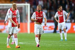 04-08-2015 NED: UEFA CL qualifying AFC Ajax - Rapid Wien, Amsterdam<br /> Ajax is al in de derde voorronde van de Champions League uitgeschakeld. Rapid Wien bleek een niet te nemen horde. Na de 2-2 in Wenen waren de Oostenrijkers in de Arena met 3-2 te sterk / Davy Klaassen #10, Lasse Schone #20