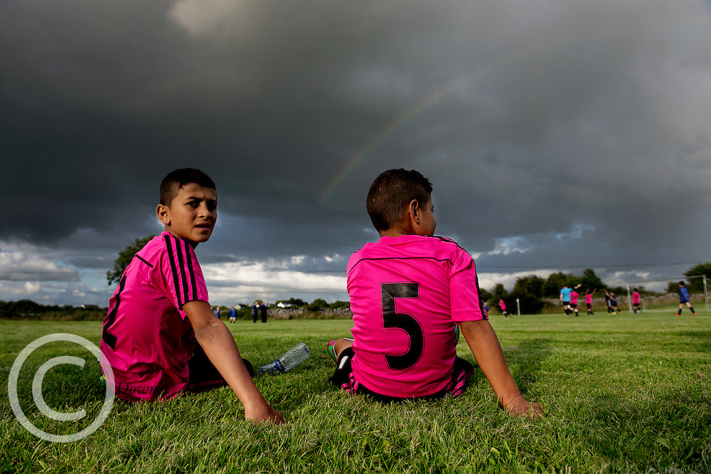 4/08/2016 Rainbow over Gaza Children playing Kinvara United in a Friendly in Co. Galway Ireland.<br />  Photo:Andrew Downes, xposure