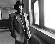 """James Carr in Memphis, August 1991. Memphis soul legend Carr died Sunday, January 7, 2001 of cancer at Court Manor Nursing Home in Memphis. He was 58. Best known for his classic reading of The Dark End of the Street, Mr. Carr's work in the '60s for Memphis label Goldwax is considered among the most important soul from that era. Born in Coahoma County, Miss., in 1942, Mr. Carr - a minister's son - began singing at 7 in the choir at Greater Mount Pleasant Baptist Church. He later performed in several gospel groups, including the Harmony Echoes with O. V. Wright. The two singers auditioned for Stax in the early '60s but the label's roster was full. They were steered toward a new company, Goldwax, started in 1964 by Hi co-founder Quinton Claunch.  James Carr's 1967 recording of """"The Dark End of the Street"""" — a Southern soul classic was included among the 26 tracks that will be added to the Grammy's roll call of all-time great records."""