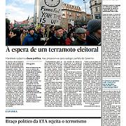 "Tearsheet of ""Irlanda: 'A espera de um terramoto eleitoral"" published in Expresso"