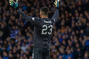 Joel Pereira of Hearts thinks his team have scored during the Betfred Scottish League Cup semi-final match between Rangers and Heart of Midlothian at Hampden Park, Glasgow, United Kingdom on 3 November 2019.