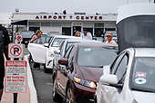 Uber/Lyft vehicles at Long Beach Airport.