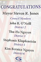 13 December 2016:  Garden Grove City Council Meeting. Swearing in of new Mayor Steve Jones at the community center on Stanford Avenue.