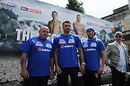 Nathan Cleverly of Wales © poses with his trainers of team Clev at weigh in preparing for his fight against Sean Corbin of Guyana. Weigh in for the 'second coming' 17th May Cardiff boxing show in Queen Street, Cardiff, South Wales on Friday 16th May 2014.<br /> pic by Andrew Orchard, Andrew Orchard sports photography.