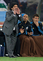 Head coach of Argentina Diego Maradona during the 2010 FIFA World Cup South Africa Round of Sixteen match between Argentina and Mexico at Soccer City Stadium on June 27, 2010 in Johannesburg, South Africa. Argentina defeated Mexico 3-1 and qualified for quarterfinals. (Photo by Vid Ponikvar / Sportida)
