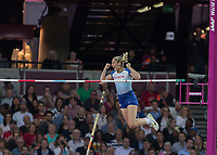 Athletics - 2017 IAAF London World Athletics Championships - Day One<br /> <br /> Event: Womens Pole Vault  Qualifying<br /> <br /> Holly Bradshaw (GBR) celebrates as she clears the bar <br /> <br /> <br /> COLORSPORT/DANIEL BEARHAM