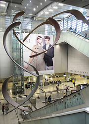 Interior of large new railway station at west Kowloon in Hong Kong