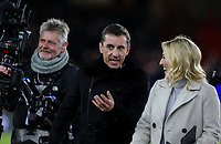 Sky Sports presenter Kelly Cates chats to pundit Gary Neville<br /> <br /> Photographer Rich Linley/CameraSport<br /> <br /> The Premier League - Sheffield United v West Ham United - Friday 10th January 2020 - Bramall Lane - Sheffield <br /> <br /> World Copyright © 2020 CameraSport. All rights reserved. 43 Linden Ave. Countesthorpe. Leicester. England. LE8 5PG - Tel: +44 (0) 116 277 4147 - admin@camerasport.com - www.camerasport.com