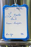 sign on tank chateau la garde pessac leognan graves bordeaux france