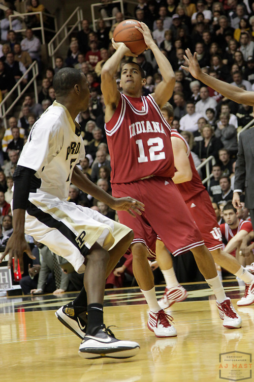 03 March 2010: Indiana guard Verdell Jones III (12) as the Indiana Hoosiers played the Purdue Boilermakers  in a college basketball game in West Laffayette, Ind.