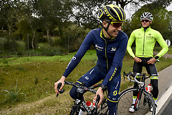 December 15, 2017 - Majorca, SPAIN - Belgian Jens Keukeleire of Orica Scott and Belgian Lawrence Naesen of WB Veranclassic Aqua Protect pictured in action during a press day during Lotto-Soudal cycling team stage in Mallorca, Spain, ahead of the new cycling season, Friday 15 December 2017. BELGA PHOTO DIRK WAEM (Credit Image: © Dirk Waem/Belga via ZUMA Press)