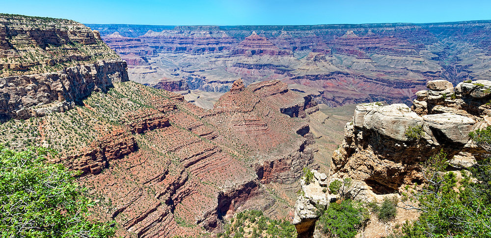 Panoramic view of South Rim in Grand Canyon, National Park. This is a 39 MP image composed of more than 12 individual shots. The Grand Canyon is a steep-sided gorge carved by the Colorado River in the United States in the state of Arizona. This is  one of the first national parks in the United States