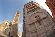 Baptistry and Duomo - Piazza Del Duomo - Parma Italy.