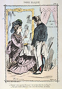 Franco-Prussian War 1870-1871: Siege of Paris 19 Sept 1870-28 Jan 1871.  Lady asking waiter if it is truly veal on the menu. He admits that it is a v eal dish made with horse.  From 'Paris Bloque', Faustin Betbeder.  France Germany Food
