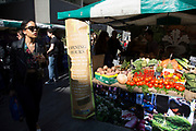 Real Food Market selling fresh organic vegetables from a stall. The South Bank is a significant arts and entertainment district, and home to an endless list of activities for Londoners, visitors and tourists alike.