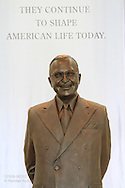 Truman statue presides over Legacy Gallery which outlines highlights Truman years at Harry S. Truman Presidential Library and Museum; Independence, Missouri.