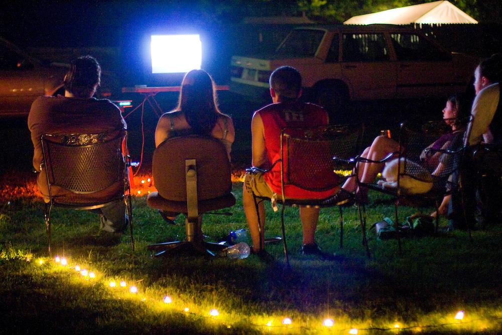Outdoor movie screening in the Belmont neighborhood of Charlottesville Virginia.