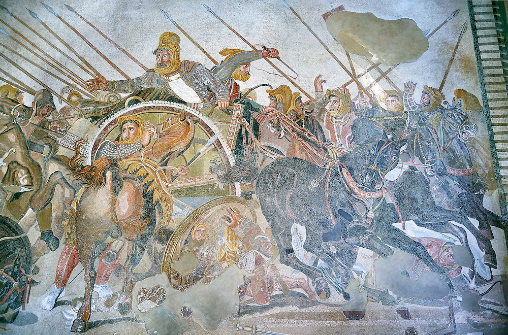King Darius from the Roman mosaic  of Battle beween Alexander the Great and Persian King Darius, 120-125 BC, Casa del Fauno, Pompeii, inv 10020, Naples National Archaeological Museum ..<br /> <br /> If you prefer to buy from our ALAMY PHOTO LIBRARY  Collection visit : https://www.alamy.com/portfolio/paul-williams-funkystock/roman-mosaic.html - Type -   Naples   - into the LOWER SEARCH WITHIN GALLERY box. Refine search by adding background colour, place, museum etc<br /> <br /> Visit our ROMAN MOSAIC PHOTO COLLECTIONS for more photos to download  as wall art prints https://funkystock.photoshelter.com/gallery-collection/Roman-Mosaics-Art-Pictures-Images/C0000LcfNel7FpLI