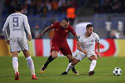 Roma's Radja Nainggolan (left) and Chelsea's Eden Hazard battle for the ball