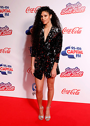 Capital FM Presenter Vick Hope on the media run during day one of Capital's Jingle Bell Ball with Coca-Cola at London's O2 Arena.